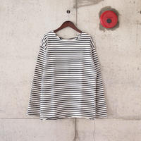 Manual Alphabet〈マニュアルアルファベット〉 HORIZON PILE BORDER CUT OFF TEE WHITE