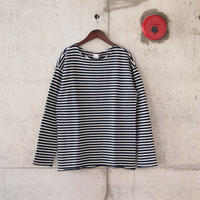 Manual Alphabet〈マニュアルアルファベット〉 HORIZON PILE BORDER CUT OFF TEE NAVY
