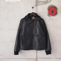 【women】AWESOME LEATHER〈オーサムレザー〉 SHAPED WIDECOLLAR JACKET BLACK