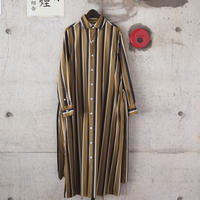 【women】Manual Alphabet〈マニュアルアルファベット〉 STRIPE LONG ONE PIECE MUSTARD/NAVY