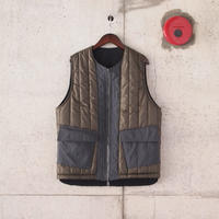 Manual Alphabet〈マニュアルアルファベット〉 V-LAP REVERSIBLE QUILTED VEST BLACK