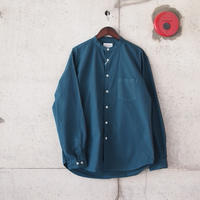 Manual Alphabet〈マニュアルアルファベット〉 LOOSE FIT BAND COLLAR SHIRT  DARK OCEAN