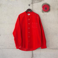 【unisex】Manual Alphabet〈マニュアルアルファベット〉CORDUROY  LOOSE FIT BAND COLLAR SHIRT  GARNET