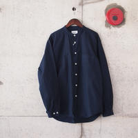 Manual Alphabet〈マニュアルアルファベット〉 LOOSE FIT BAND COLLAR SHIRT NAVY