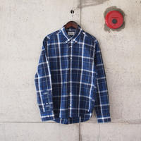 Manual Alphabet〈マニュアルアルファベット〉TYPEWRITER CHECK BD SHIRT BLUE