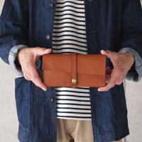Dono〈ドーノ〉 ARIZONA LEATHER FRAP LONG WALLET BROWN/TURQUOISE