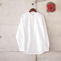 Manual Alphabet〈マニュアルアルファベット〉 LOOSE FIT BAND COLLAR SHIRT  WHITE