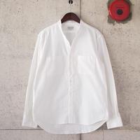 Manual Alphabet〈マニュアルアルファベット〉 コーデュロイ Vネックシャツ WHITE