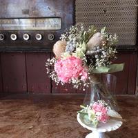 《ウェディング》ブーケ・ブートニア2点セット(ホワイト&ピンク系)