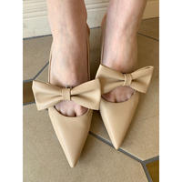 pointed ribbon  mule beige