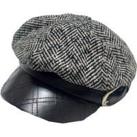 quilting leather tweed casquette