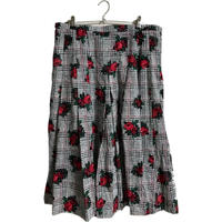 check flower design pleats skirt