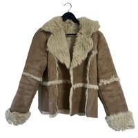 mouton fur coat beige
