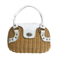 white leather basket hand bag