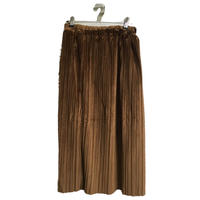 velours pleats skirt camel