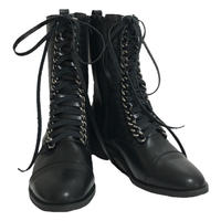 chain lace-up boots