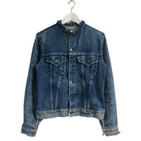 LEVIS neck cut off denim jacket blue