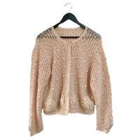 pon pon knit cardigan baby pink