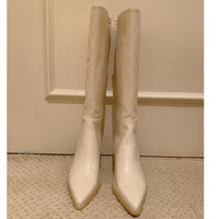 pointed toe khitōn heal long boots ivory