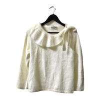 side ribbon mohair knit tops white