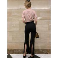back slit pants black