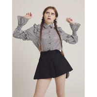stripe frill blouse black