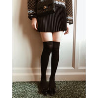 suède pleats mini skirt black