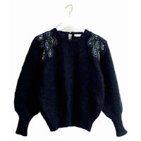 shoulder bijou design knit black