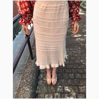 knit crochet skirt beige