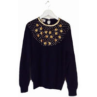 gold flower bijou knit black