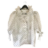 dot frill see-through blouse