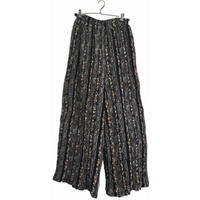 flower stripe design wide pants