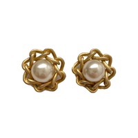 gold  chainframe earring (No.4390)