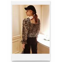 leopard frill chiffon blouse