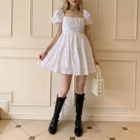 puff sleeve flower lace  onepiece