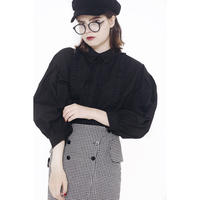 arm volume frill blouse black