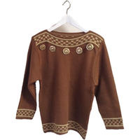 big gold botton knit camel