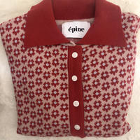 mini flower spring knit cardigan red