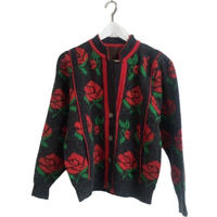 rose design knit cardigan