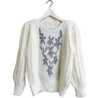 flower design mohair knit white