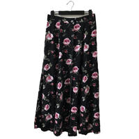 flower design long  skirt black