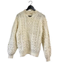 cable knit milk tea beige