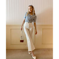 épine high-waist fit bell jeans white