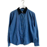 velour collar denim shirt