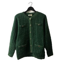 cable knit cardigan green