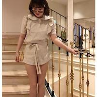 check frill ribbon blousebeige
