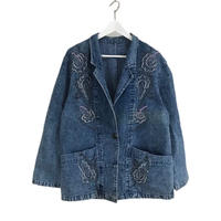 colorful embroidery denim jacket
