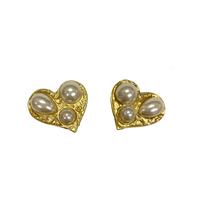 heart pearl vintage earring(No.4250)