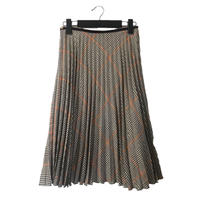 check pleats skirt  grey