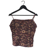 flower design thermal camisole red